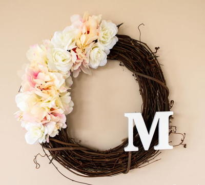 Flower Monogram DIY Spring Wreath