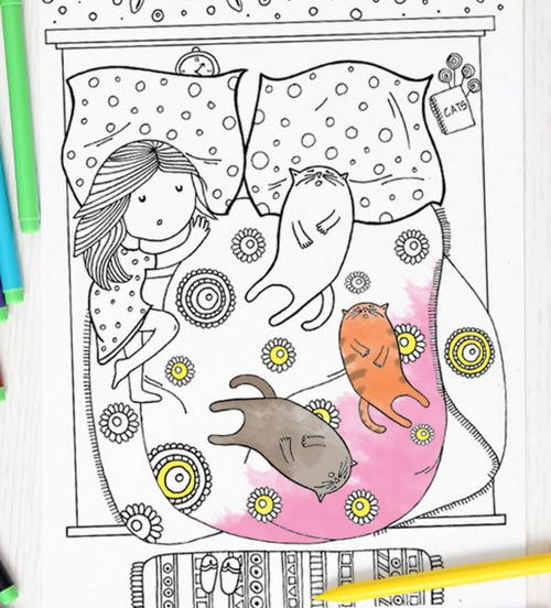 Cat Slumber Party Coloring Page