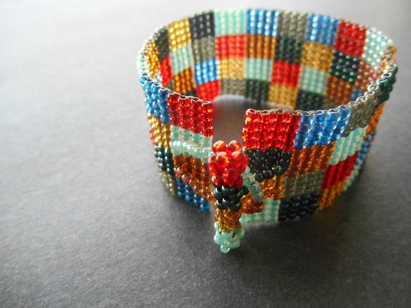 Square Stitch Patchwork Cuff