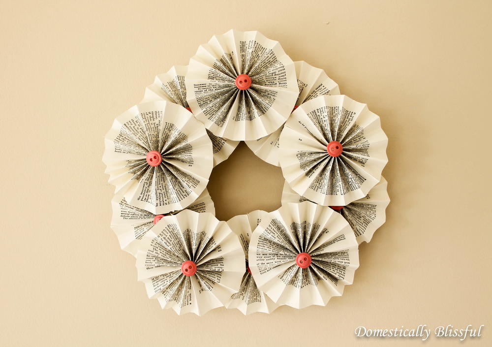 Craft Book Cover Page Decoration : Spring rosette recycled book wreath allfreeholidaycrafts