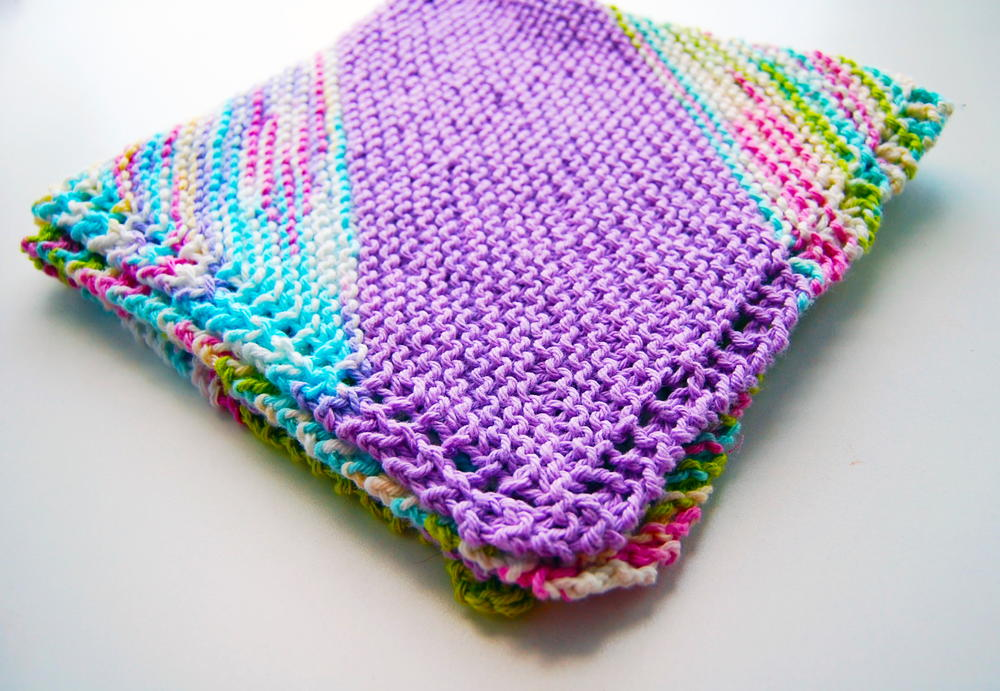 Knitting Pattern For Baby Blanket Beginner : Bias Quick Knit Baby Blanket AllFreeKnitting.com