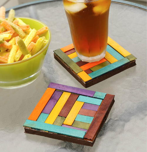 Abstract Dyed Wood Coasters