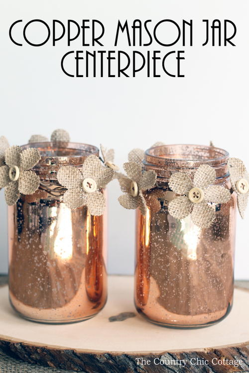 Copper Mason Jar Centerpiece