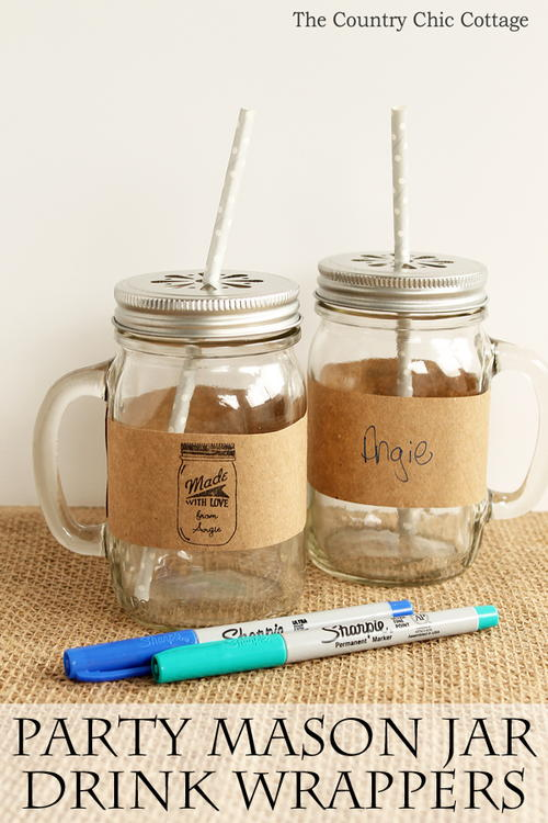 Party Mason Jar Drink Wrappers