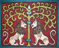 Needle Felted Lion Tapestry