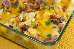 Cheesy Loaded Twice Baked Potato Casserole Allfreecasserolerecipes Com