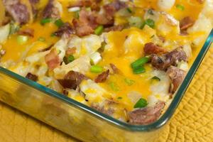 Cheesy Loaded Twice Baked Potato Casserole Allfreecasserolerecipes Com
