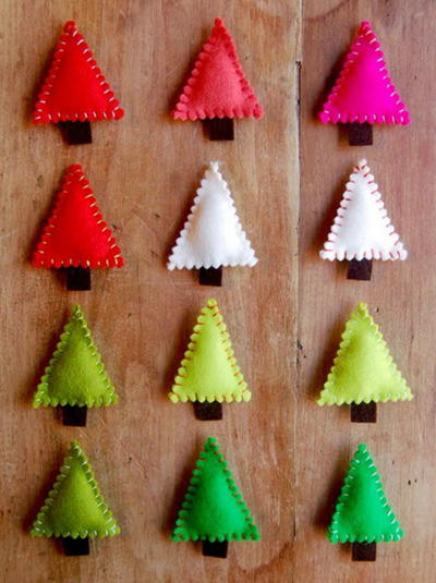 Felt Christmas Tree Pins
