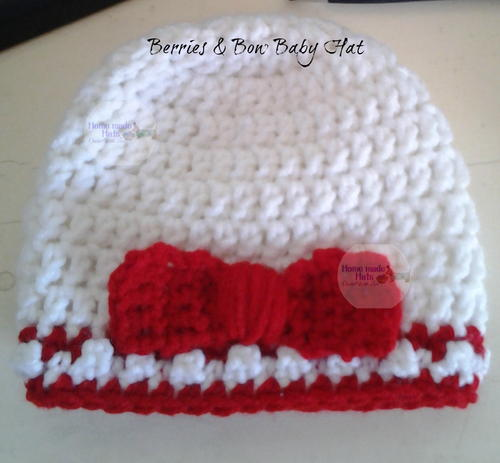 Berries & Bow Baby Hat