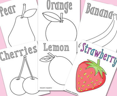 Tooty-Fruity Coloring Sheets