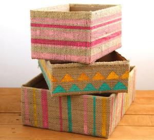 Burlap DIY Storage Boxes