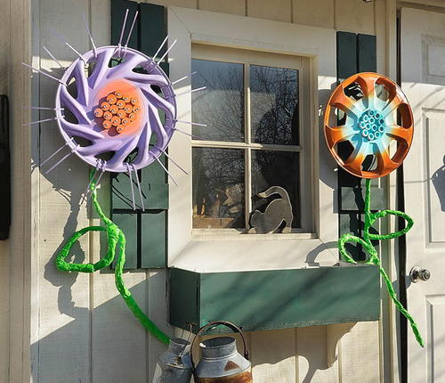 DIY Hub Cap Flowers