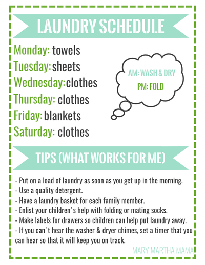 Laundry Schedule Free Printable