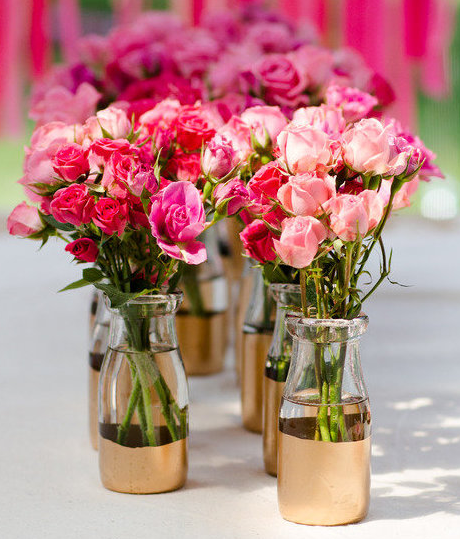 Royal Gold Dipped Vases