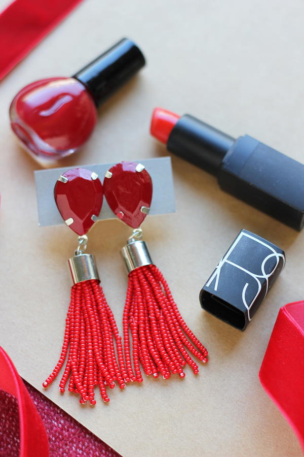 Hollywood Glam Scarlet Tassel Earrings