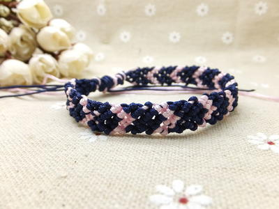 Pink and Navy Chevron Friendship Bracelet