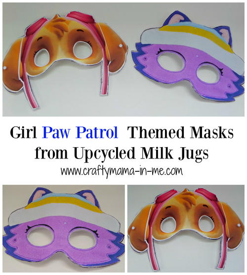 Girl Paw Patrol Themed Masks from Upcycled Milk Jugs