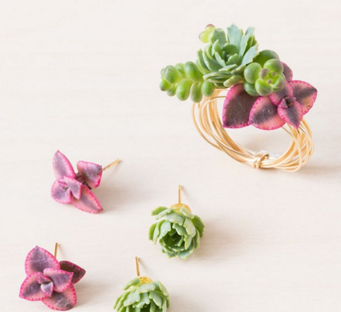 Sensational Succulent Earrings and Wire Wrapped Rings