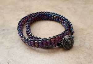 Lilac Ladder Stitch Wrap Bracelets