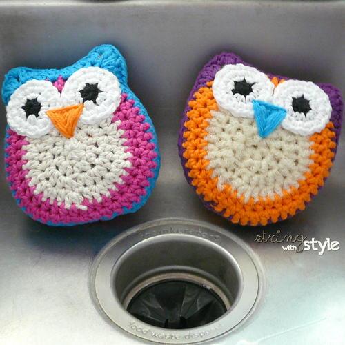 Owl Dish Scrubbie Allfreecrochetcom