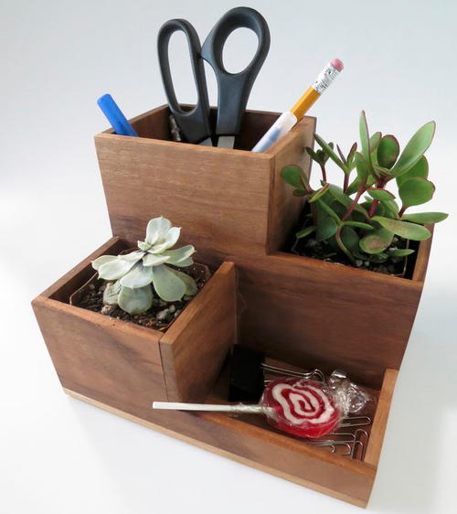 DIY Desk Organizer and Succulent Planter