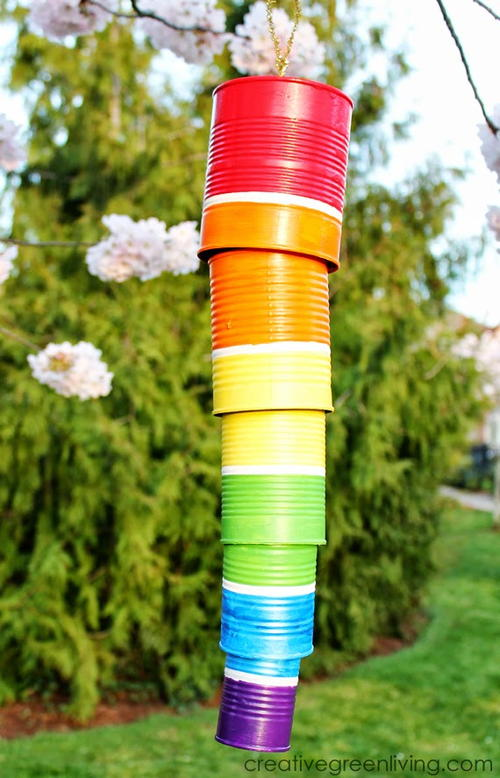 Tin can diy wind chime for Wind chimes from recycled materials