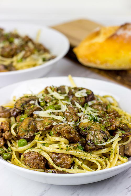Linguine with Sausage and Mushrooms
