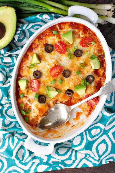Dump-and-Go Healthy Chicken Enchilada Casserole