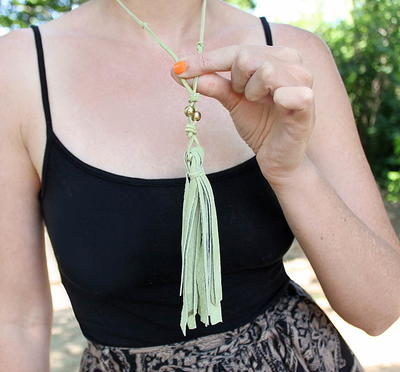 Free People DIY Leather Tassel Necklace