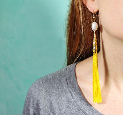Electric Yellow DIY Tassel Earrings