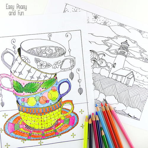 Tea Cup and Lighthouse Coloring Sheets