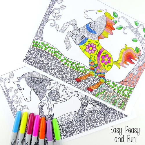 Intricate Horse Coloring Pages