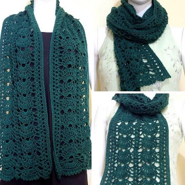 grace green scarf allfreecrochet