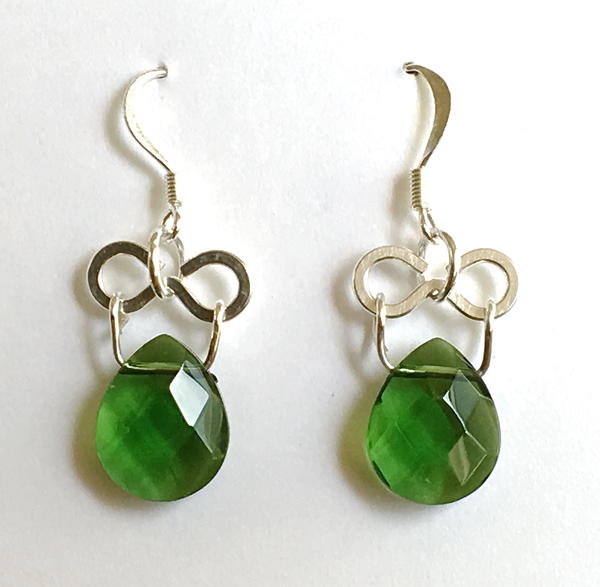Hinged Green Earrings