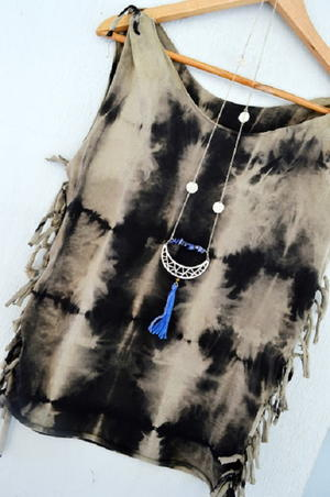 Bleached Tie Dye Fringed T-Shirt