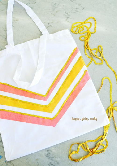 Striped and Sparkly Chevron Canvas Tote Bag