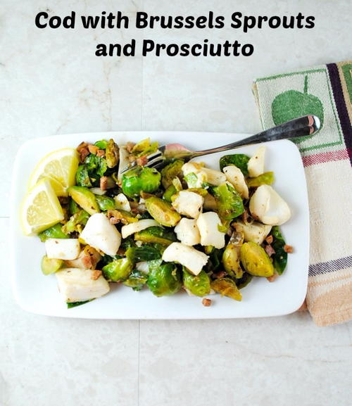 Tender Cod Filets with Sautéed Brussels Sprouts and Prosciutto