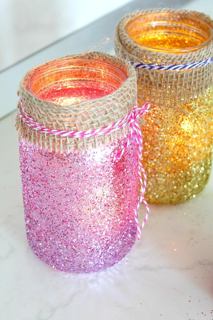 Glittering Mason Jar Diy Luminaries Diyideacenter Com