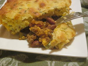 Beef Casserole with Cheesy Cornbread Topping