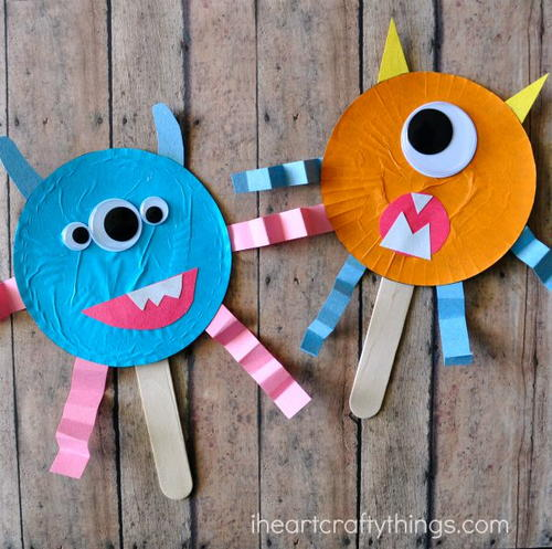 Cupcake Liner Monster Puppets