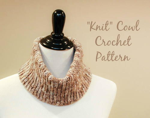 """Knit"" Crochet Cowl Pattern"