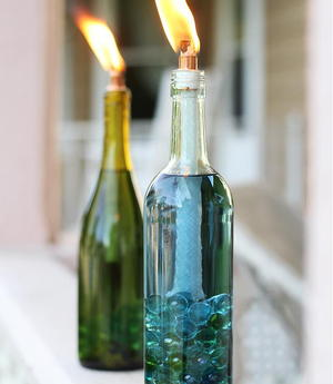 Wine Bottle DIY Citronella Candles