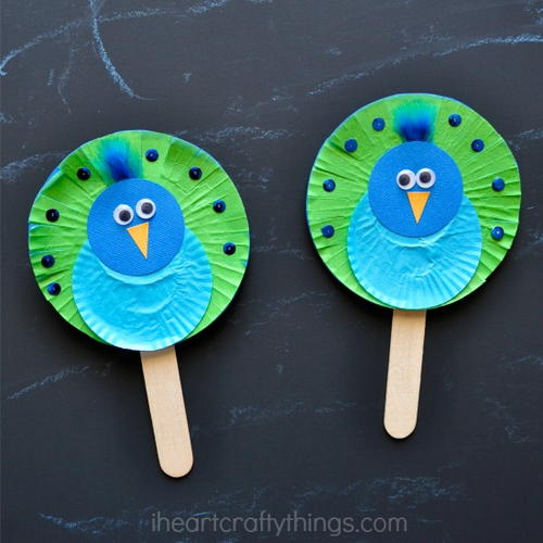 Cupcake Liner Peacock Puppets