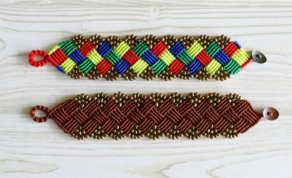 Beaded Square Macrame Bracelet