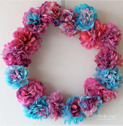 Colorful Coffee Filter Flowers Wreath