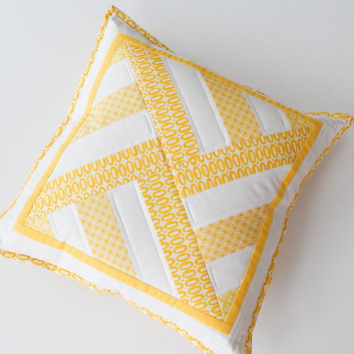 Geometric Throw Pillow with Lapped Zip Back