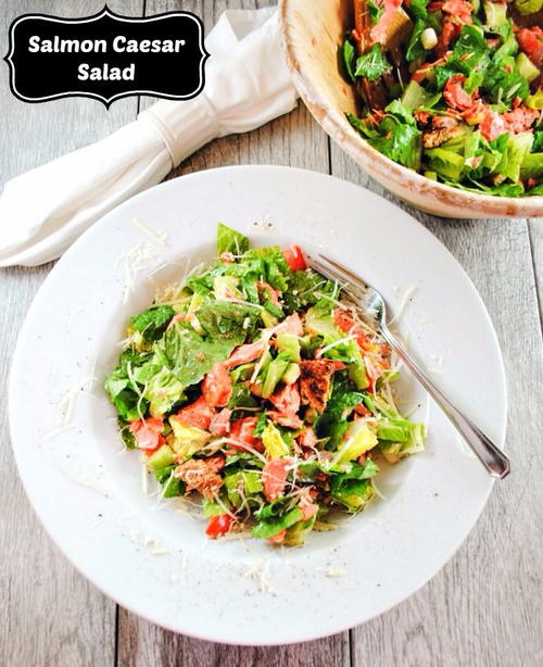 Salmon Caesar Salad with Cucumbers, Tomatoes and Parmesan Cheese