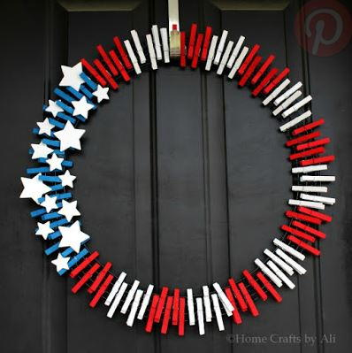 Fourth of July Clothespin Wreath