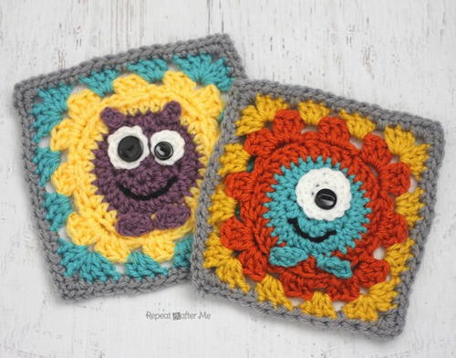 Littlest Monsters Crochet Granny Squares