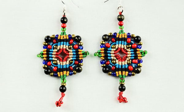 Colorful Cross Macrame Earrings